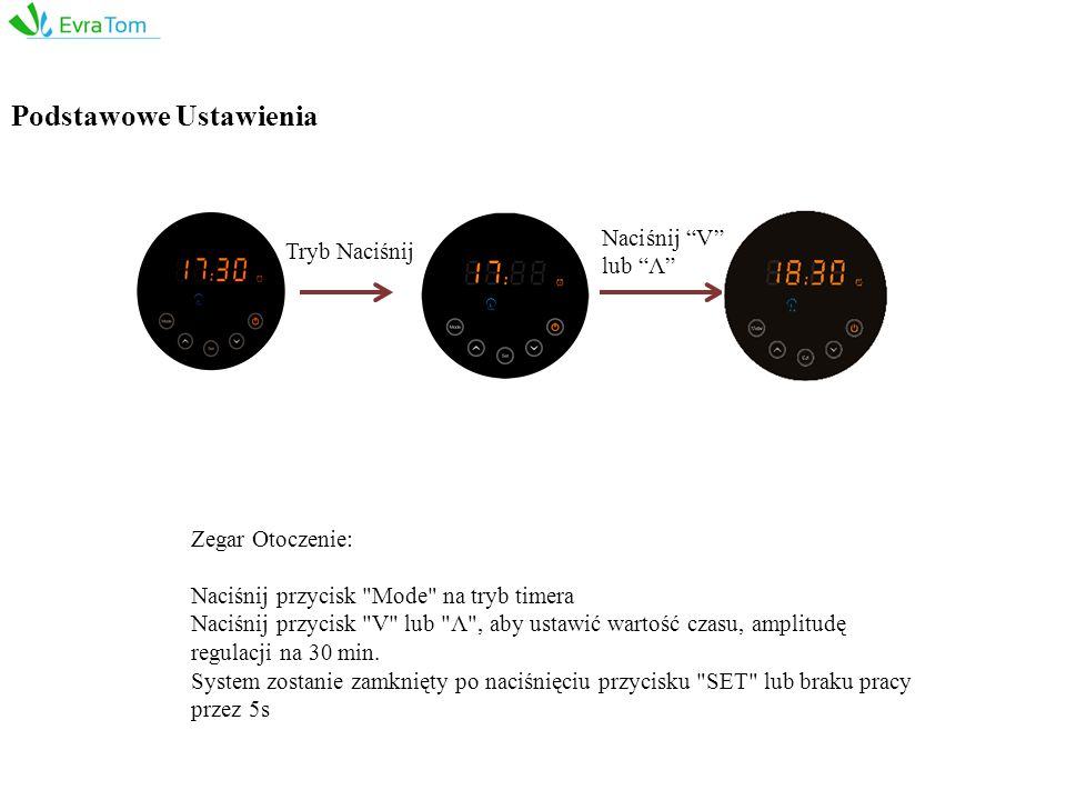 Zegar Otoczenie: Naciśnij przycisk Mode na tryb timera Naciśnij przycisk V lub Λ , aby ustawić wartość czasu, amplitudę regulacji na 30 min.
