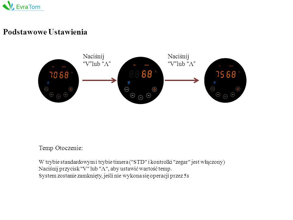 Temp Otoczenie: W trybie standardowym i trybie timera ( STD i kontrolki zegar jest włączony) Naciśnij przycisk V lub Λ , aby ustawić wartość temp.
