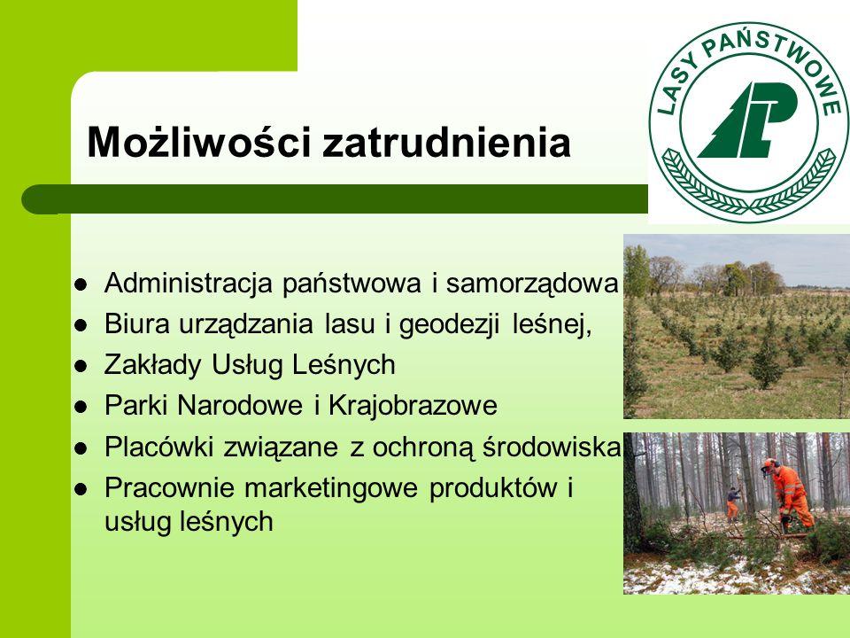 Możliwości zatrudnienia Administracja państwowa i samorządowa Biura urządzania lasu i geodezji leśnej, Zakłady Usług Leśnych Parki Narodowe i Krajobra