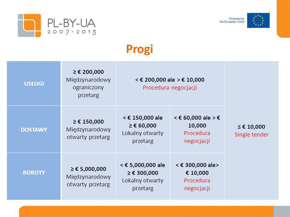 Progi USŁUGI ≥ € 200,000 Międzynarodowy ograniczony przetarg € 10,000 Procedura negocjacji ≤ € 10,000 Single tender DOSTAWY ≥ € 150,000 Międzynarodowy otwarty przetarg < € 150,000 ale ≥ € 60,000 Lokalny otwarty przetarg € 10,000 Procedura negocjacji ROBOTY ≥ € 5,000,000 Międzynarodowy otwarty przetarg < € 5,000,000 ale ≥ € 300,000 Lokalny otwarty przetarg € 10,000 Procedura negocjacji