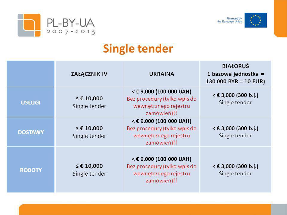 Single tender ZAŁĄCZNIK IVUKRAINA BIAŁORUŚ 1 bazowa jednostka = 130 000 BYR = 10 EUR) USŁUGI ≤ € 10,000 Single tender < € 9,000 (100 000 UAH) Bez procedury (tylko wpis do wewnętrznego rejestru zamówień)!.