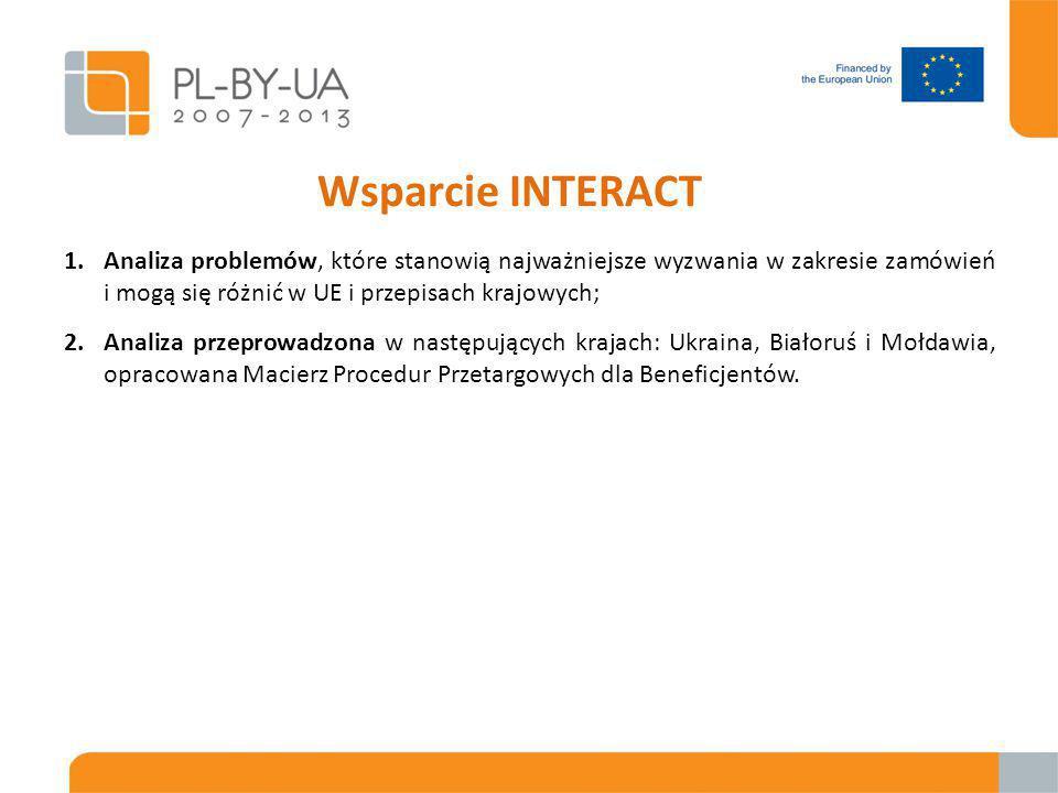 Wsparcie INTERACT 1.Analiza problemów, które stanowią najważniejsze wyzwania w zakresie zamówień i mogą się różnić w UE i przepisach krajowych; 2.Analiza przeprowadzona w następujących krajach: Ukraina, Białoruś i Mołdawia, opracowana Macierz Procedur Przetargowych dla Beneficjentów.