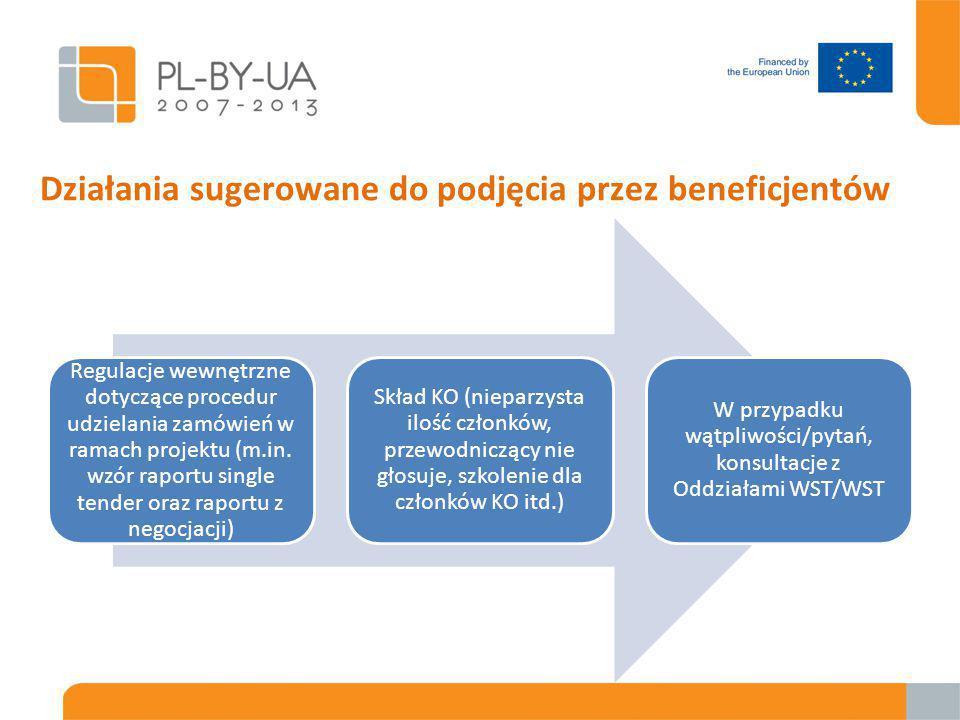 Działania sugerowane do podjęcia przez beneficjentów Regulacje wewnętrzne dotyczące procedur udzielania zamówień w ramach projektu (m.in.