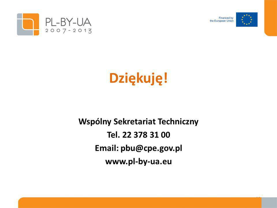 Dziękuję! Wspólny Sekretariat Techniczny Tel. 22 378 31 00 Email: pbu@cpe.gov.pl www.pl-by-ua.eu 29