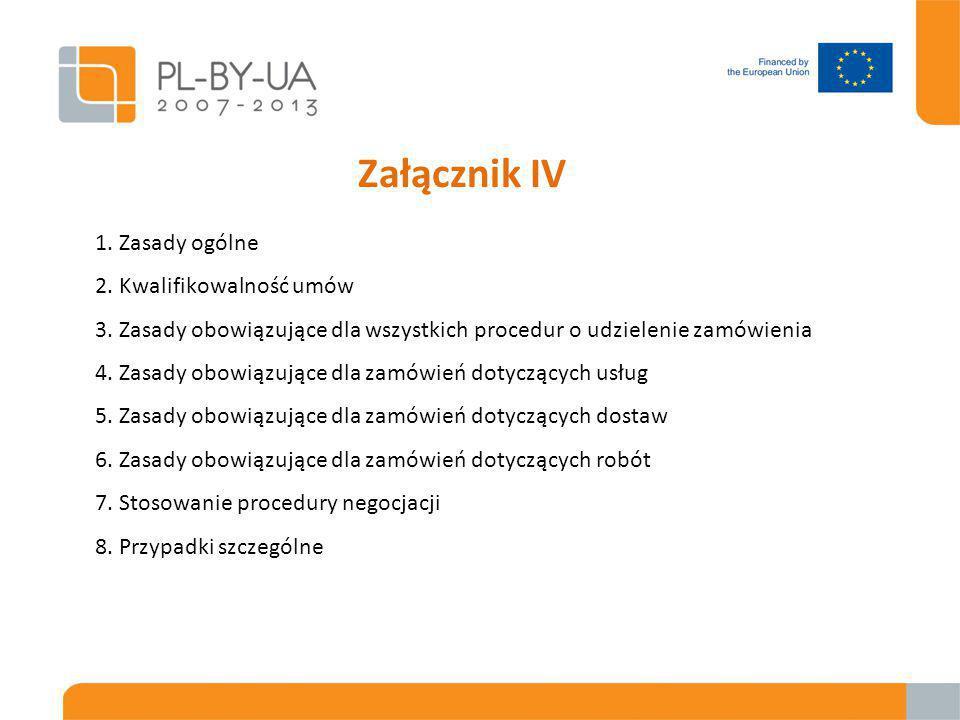 Załącznik IV 1. Zasady ogólne 2. Kwalifikowalność umów 3.