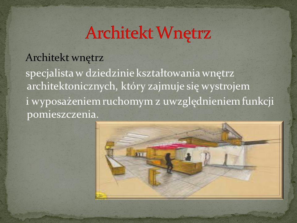 Architekt wnętrz specjalista w dziedzinie kształtowania wnętrz architektonicznych, który zajmuje się wystrojem i wyposażeniem ruchomym z uwzględnienie