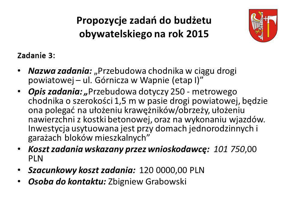 """Propozycje zadań do budżetu obywatelskiego na rok 2015 Zadanie 3: Nazwa zadania: """"Przebudowa chodnika w ciągu drogi powiatowej – ul."""