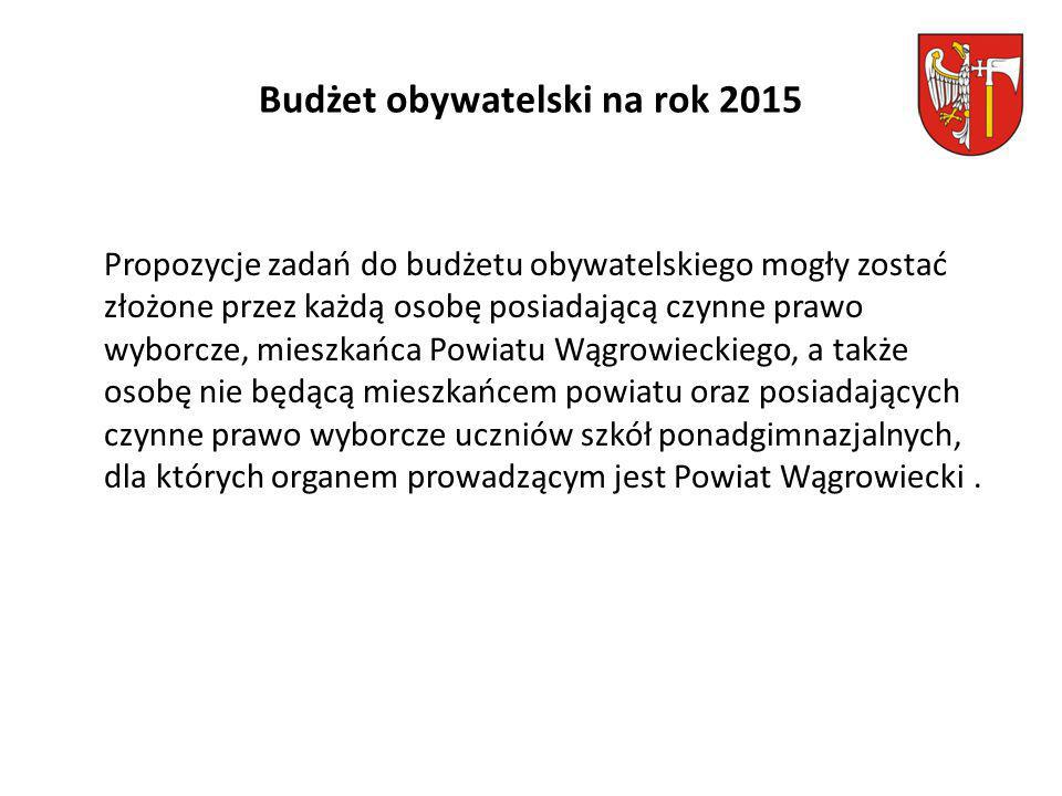 Budżet obywatelski na rok 2015 Propozycje zadań do budżetu obywatelskiego mogły zostać złożone przez każdą osobę posiadającą czynne prawo wyborcze, mieszkańca Powiatu Wągrowieckiego, a także osobę nie będącą mieszkańcem powiatu oraz posiadających czynne prawo wyborcze uczniów szkół ponadgimnazjalnych, dla których organem prowadzącym jest Powiat Wągrowiecki.