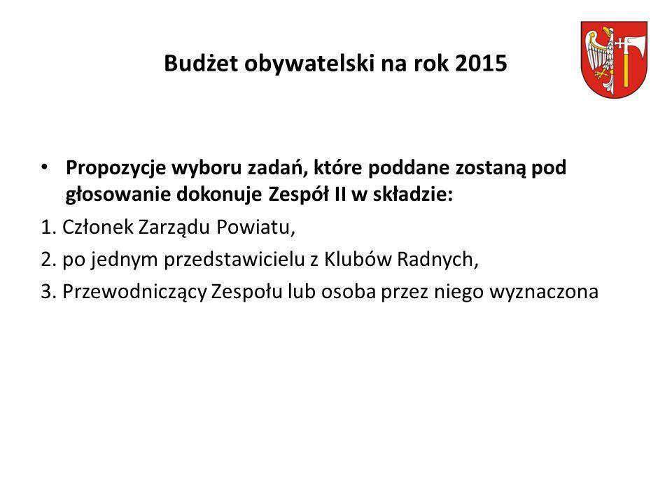 Budżet obywatelski na rok 2015 Propozycje wyboru zadań, które poddane zostaną pod głosowanie dokonuje Zespół II w składzie: 1.
