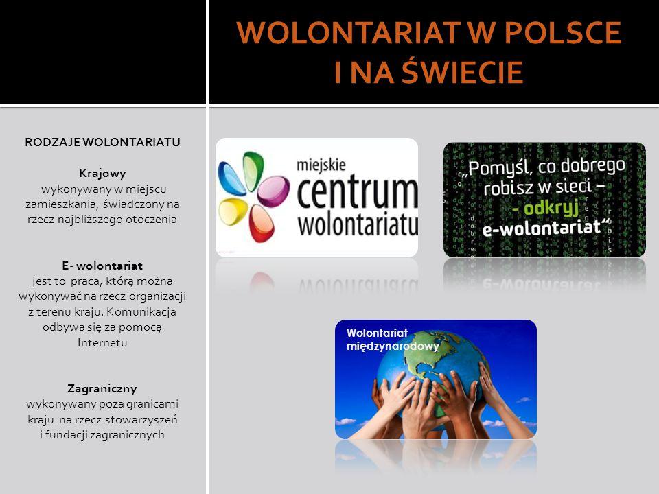 WOLONTARIAT W POLSCE I NA ŚWIECIE RODZAJE WOLONTARIATU Krajowy wykonywany w miejscu zamieszkania, świadczony na rzecz najbliższego otoczenia E- wolontariat jest to praca, którą można wykonywać na rzecz organizacji z terenu kraju.