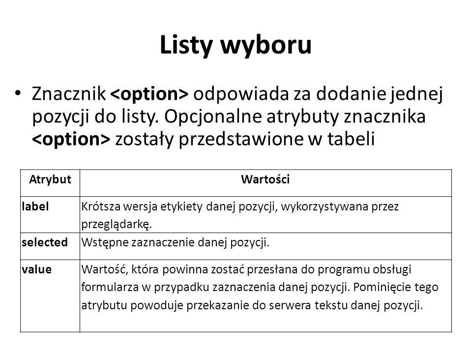 Listy wyboru Znacznik odpowiada za dodanie jednej pozycji do listy.