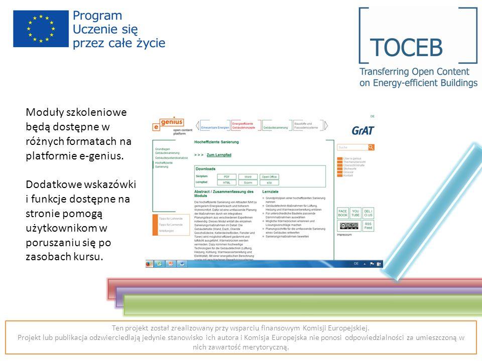 Moduły szkoleniowe będą dostępne w różnych formatach na platformie e-genius.