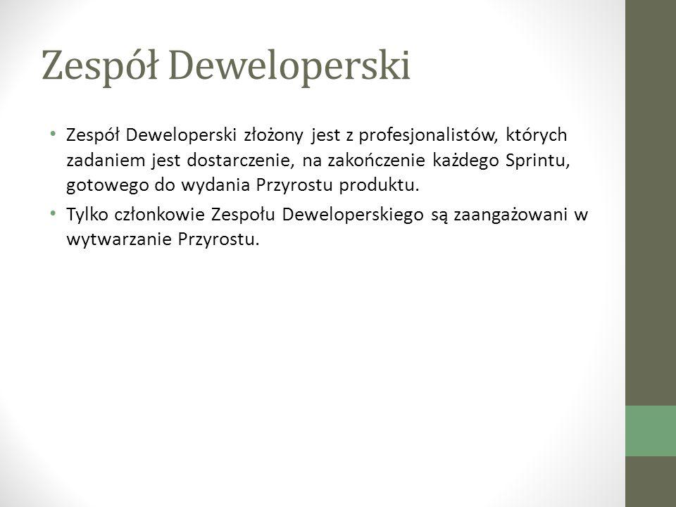 Zespół Deweloperski Zespół Deweloperski złożony jest z profesjonalistów, których zadaniem jest dostarczenie, na zakończenie każdego Sprintu, gotowego do wydania Przyrostu produktu.