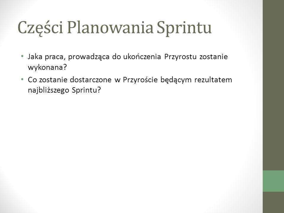 Części Planowania Sprintu Jaka praca, prowadząca do ukończenia Przyrostu zostanie wykonana.