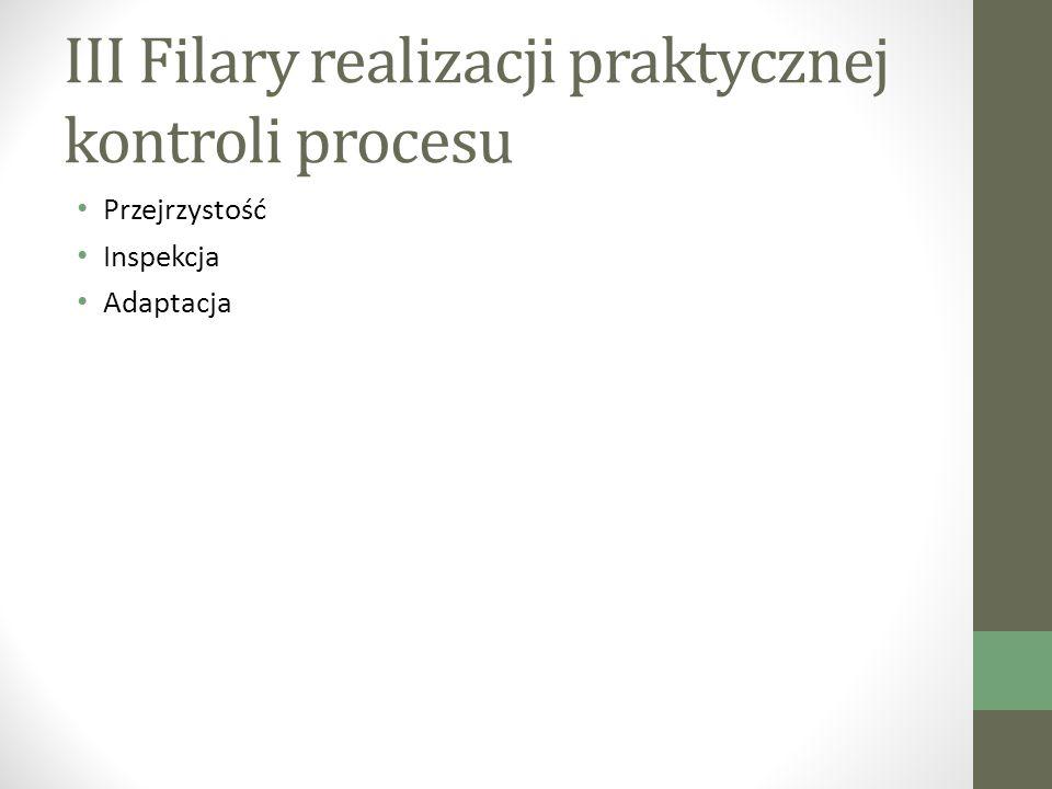 III Filary realizacji praktycznej kontroli procesu Przejrzystość Inspekcja Adaptacja