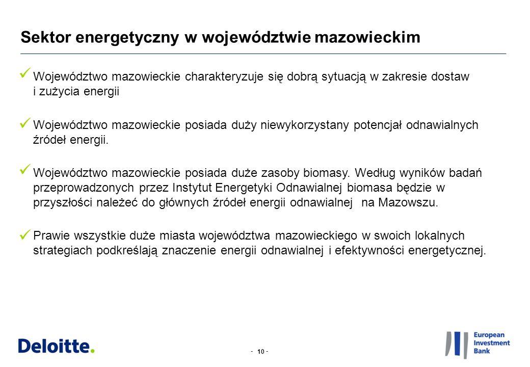 -- Sektor energetyczny w województwie mazowieckim Województwo mazowieckie charakteryzuje się dobrą sytuacją w zakresie dostaw i zużycia energii Wojewó