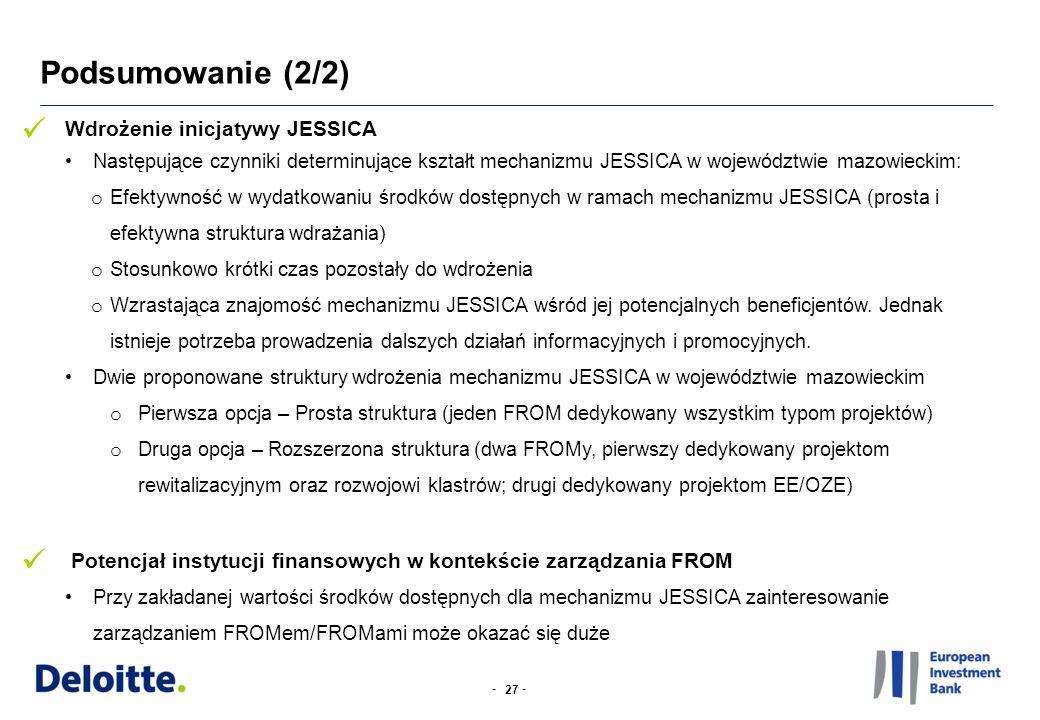 -- Podsumowanie (2/2) 27 Wdrożenie inicjatywy JESSICA Następujące czynniki determinujące kształt mechanizmu JESSICA w województwie mazowieckim: o Efektywność w wydatkowaniu środków dostępnych w ramach mechanizmu JESSICA (prosta i efektywna struktura wdrażania) o Stosunkowo krótki czas pozostały do wdrożenia o Wzrastająca znajomość mechanizmu JESSICA wśród jej potencjalnych beneficjentów.