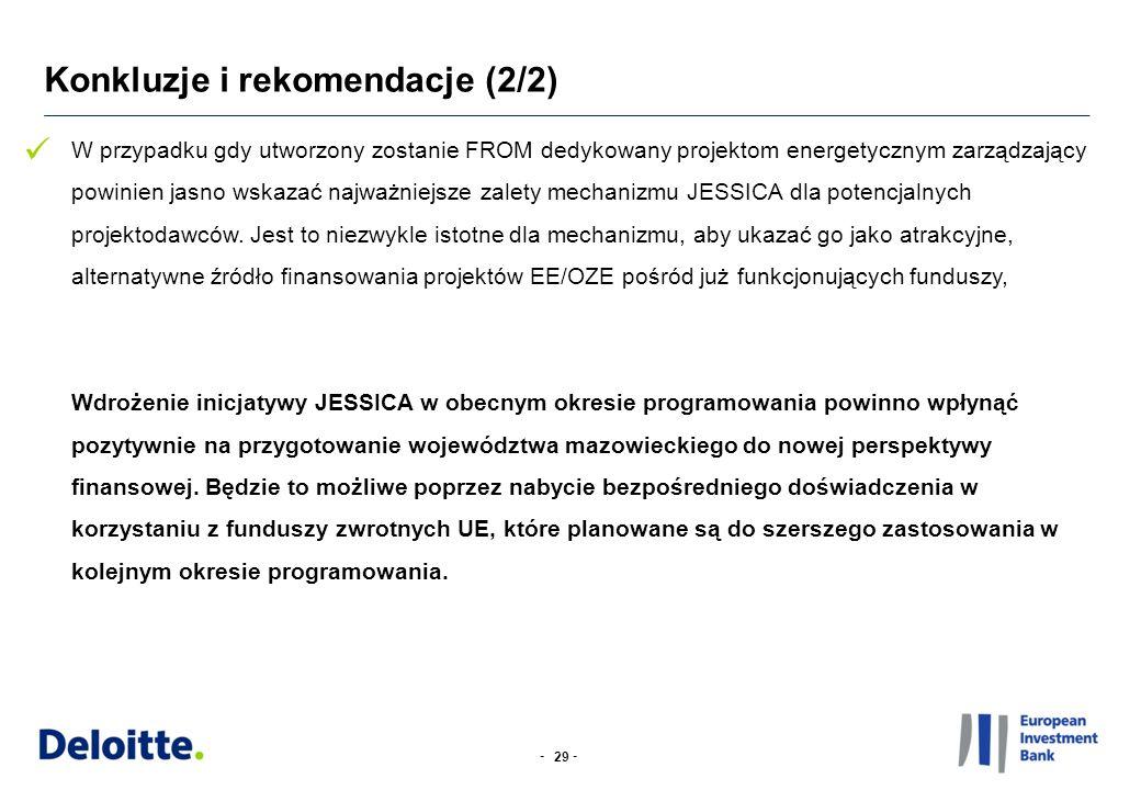 -- Konkluzje i rekomendacje (2/2) 29 W przypadku gdy utworzony zostanie FROM dedykowany projektom energetycznym zarządzający powinien jasno wskazać najważniejsze zalety mechanizmu JESSICA dla potencjalnych projektodawców.