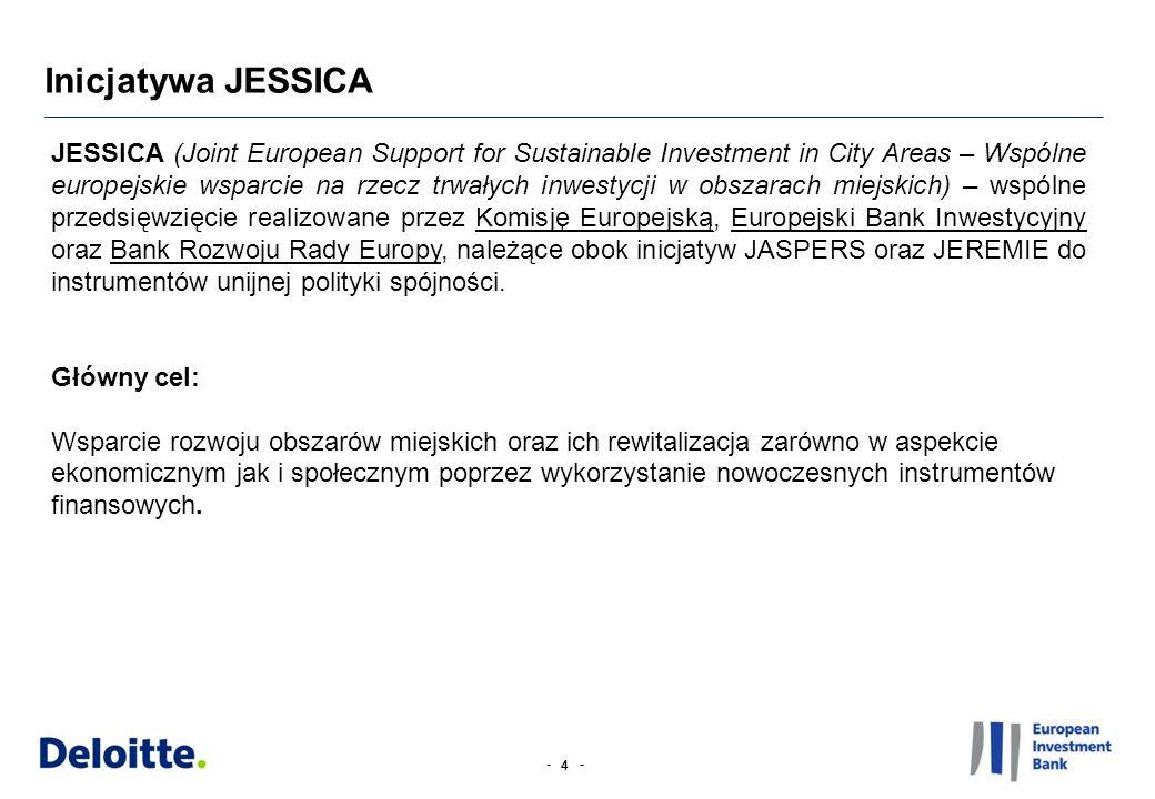 -- Inicjatywa JESSICA 4 JESSICA (Joint European Support for Sustainable Investment in City Areas – Wspólne europejskie wsparcie na rzecz trwałych inwestycji w obszarach miejskich) – wspólne przedsięwzięcie realizowane przez Komisję Europejską, Europejski Bank Inwestycyjny oraz Bank Rozwoju Rady Europy, należące obok inicjatyw JASPERS oraz JEREMIE do instrumentów unijnej polityki spójności.
