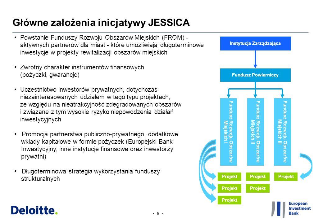 -- Główne założenia inicjatywy JESSICA 5 Powstanie Funduszy Rozwoju Obszarów Miejskich (FROM) - aktywnych partnerów dla miast - które umożliwiają długoterminowe inwestycje w projekty rewitalizacji obszarów miejskich Zwrotny charakter instrumentów finansowych (pożyczki, gwarancje) Uczestnictwo inwestorów prywatnych, dotychczas niezainteresowanych udziałem w tego typu projektach, ze względu na nieatrakcyjność zdegradowanych obszarów i związane z tym wysokie ryzyko niepowodzenia działań inwestycyjnych Promocja partnerstwa publiczno-prywatnego, dodatkowe wkłady kapitałowe w formie pożyczek (Europejski Bank Inwestycyjny, inne instytucje finansowe oraz inwestorzy prywatni) Długoterminowa strategia wykorzystania funduszy strukturalnych Projekt Instytucja Zarządzająca Fundusz Rozwoju Obszarów Miejskich I Fundusz Rozwoju Obszarów Miejskich II Fundusz Rozwoju Obszarów Miejskich III Fundusz Powierniczy