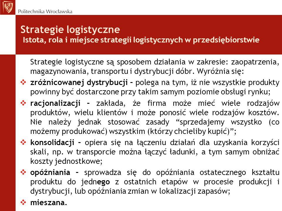 Strategie logistyczne Istota, rola i miejsce strategii logistycznych w przedsiębiorstwie Strategie logistyczne są sposobem działania w zakresie: zaopa
