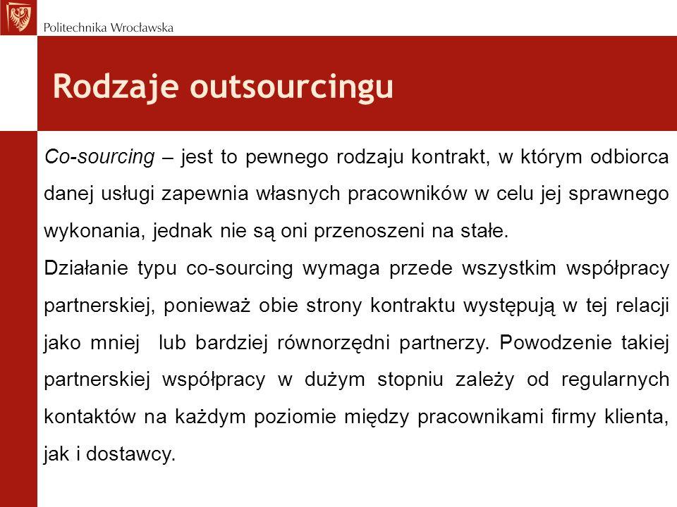 Rodzaje outsourcingu Co-sourcing – jest to pewnego rodzaju kontrakt, w którym odbiorca danej usługi zapewnia własnych pracowników w celu jej sprawnego