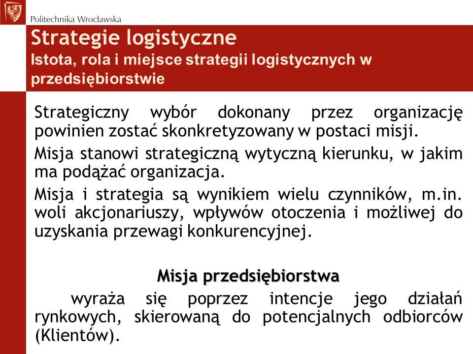 Strategiczny wybór dokonany przez organizację powinien zostać skonkretyzowany w postaci misji. Misja stanowi strategiczną wytyczną kierunku, w jakim m