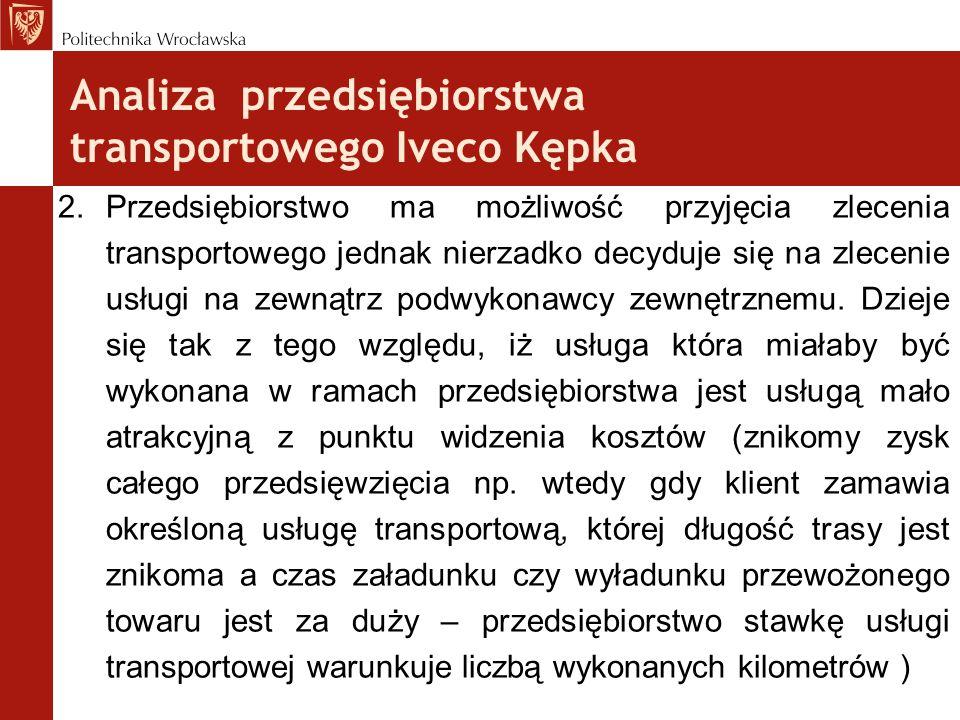 Analiza przedsiębiorstwa transportowego Iveco Kępka 2.Przedsiębiorstwo ma możliwość przyjęcia zlecenia transportowego jednak nierzadko decyduje się na