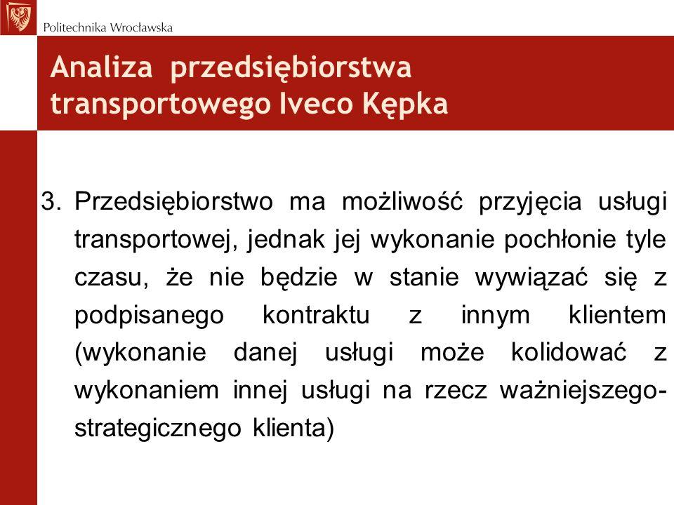 Analiza przedsiębiorstwa transportowego Iveco Kępka 3.Przedsiębiorstwo ma możliwość przyjęcia usługi transportowej, jednak jej wykonanie pochłonie tyl