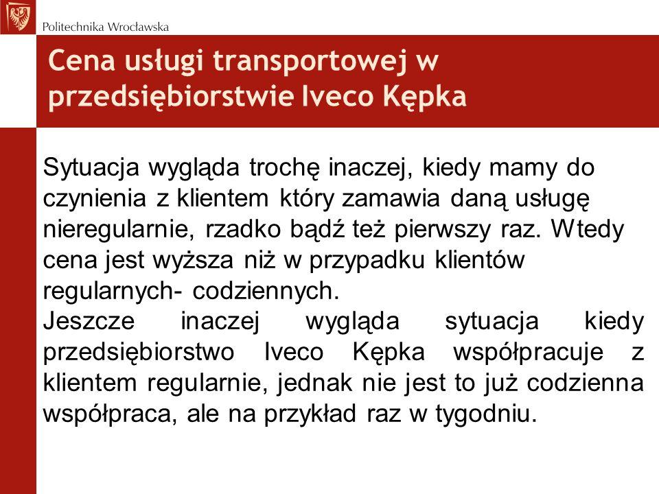 Cena usługi transportowej w przedsiębiorstwie Iveco Kępka Sytuacja wygląda trochę inaczej, kiedy mamy do czynienia z klientem który zamawia daną usług