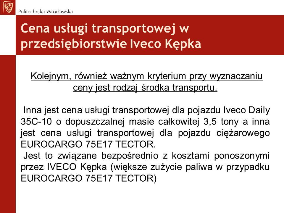 Cena usługi transportowej w przedsiębiorstwie Iveco Kępka Kolejnym, również ważnym kryterium przy wyznaczaniu ceny jest rodzaj środka transportu. Inna