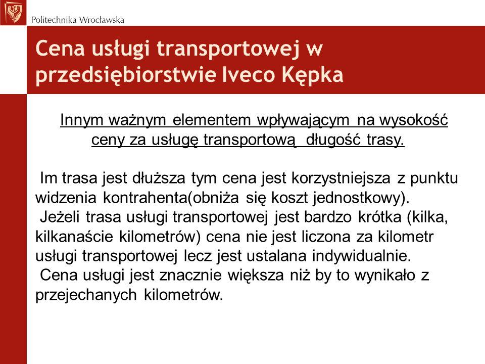 Cena usługi transportowej w przedsiębiorstwie Iveco Kępka Innym ważnym elementem wpływającym na wysokość ceny za usługę transportową długość trasy. Im