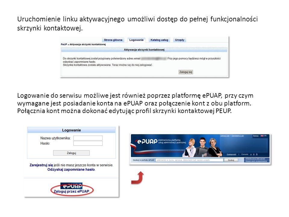 Wszystkie niezbędne informacje dotyczące zakładania konta oraz funkcjonalności platformy ePUAP (http://epuap.gov.pl) dostępne są pod linkiem pomocy, umieszczonym w prawym górnym rogu strony.http://epuap.gov.pl
