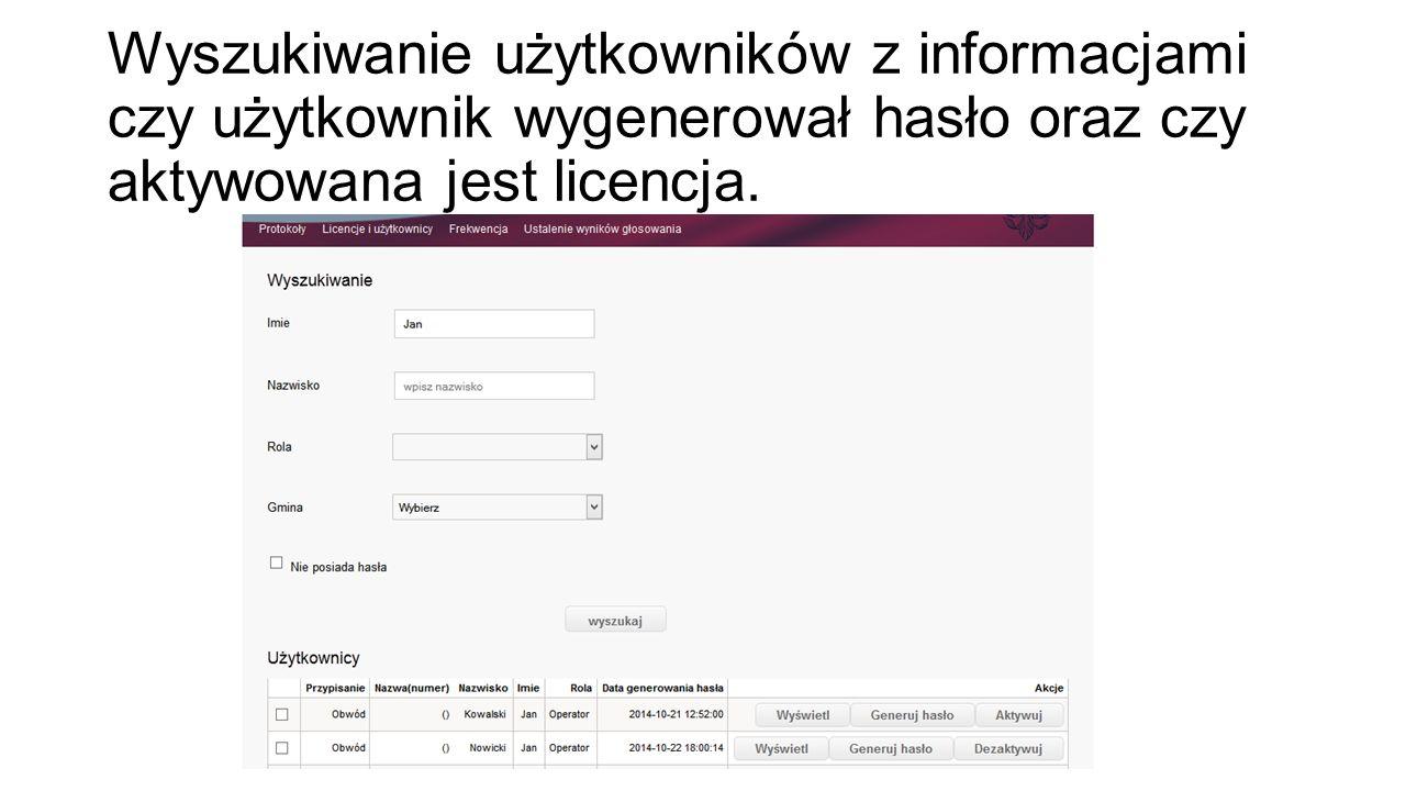 Wyszukiwanie użytkowników z informacjami czy użytkownik wygenerował hasło oraz czy aktywowana jest licencja.
