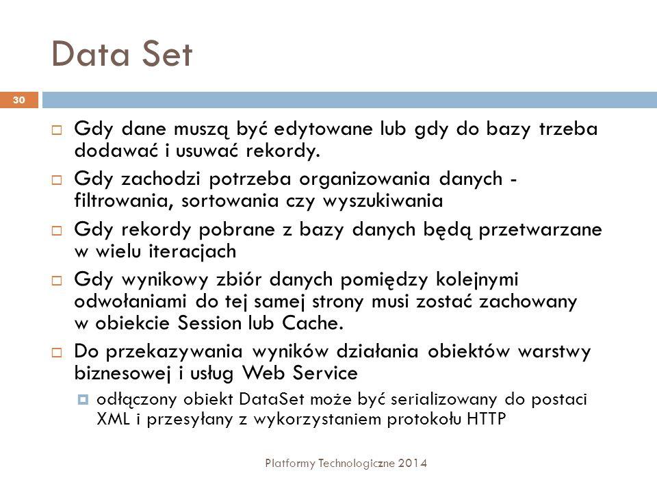 Data Set Platformy Technologiczne 2014 30  Gdy dane muszą być edytowane lub gdy do bazy trzeba dodawać i usuwać rekordy.