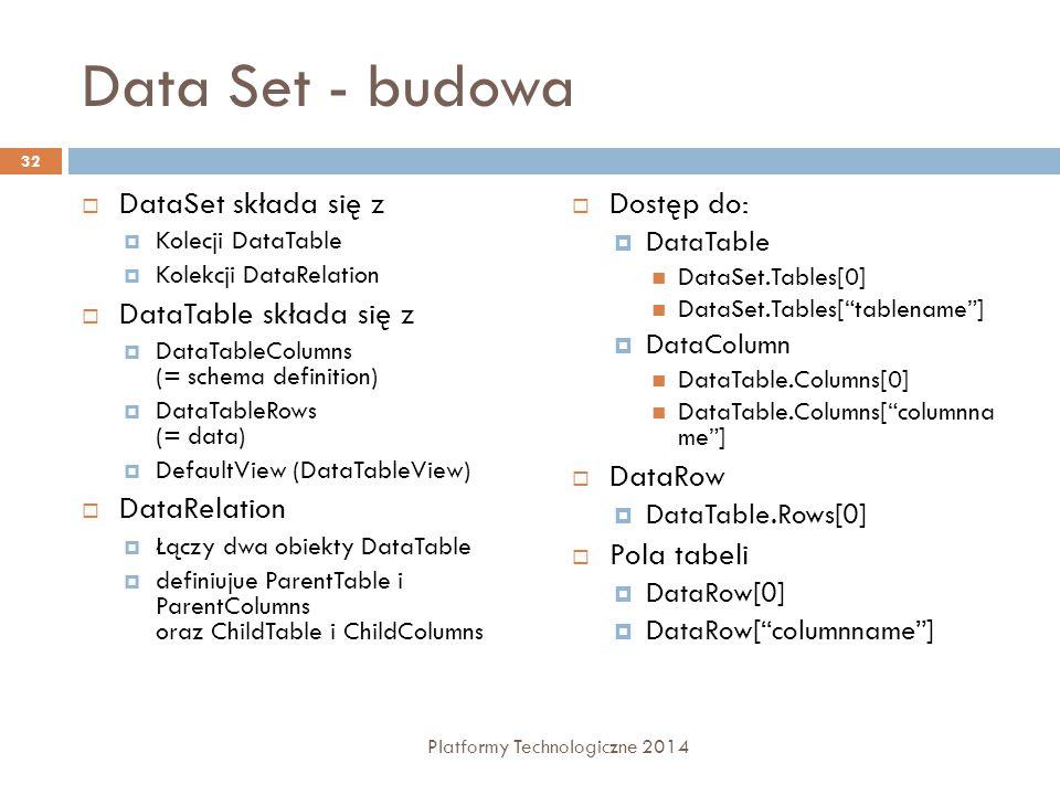 Data Set - budowa  DataSet składa się z  Kolecji DataTable  Kolekcji DataRelation  DataTable składa się z  DataTableColumns (= schema definition)  DataTableRows (= data)  DefaultView (DataTableView)  DataRelation  Łączy dwa obiekty DataTable  definiujue ParentTable i ParentColumns oraz ChildTable i ChildColumns  Dostęp do:  DataTable DataSet.Tables[0] DataSet.Tables[ tablename ]  DataColumn DataTable.Columns[0] DataTable.Columns[ columnna me ]  DataRow  DataTable.Rows[0]  Pola tabeli  DataRow[0]  DataRow[ columnname ] 32 Platformy Technologiczne 2014