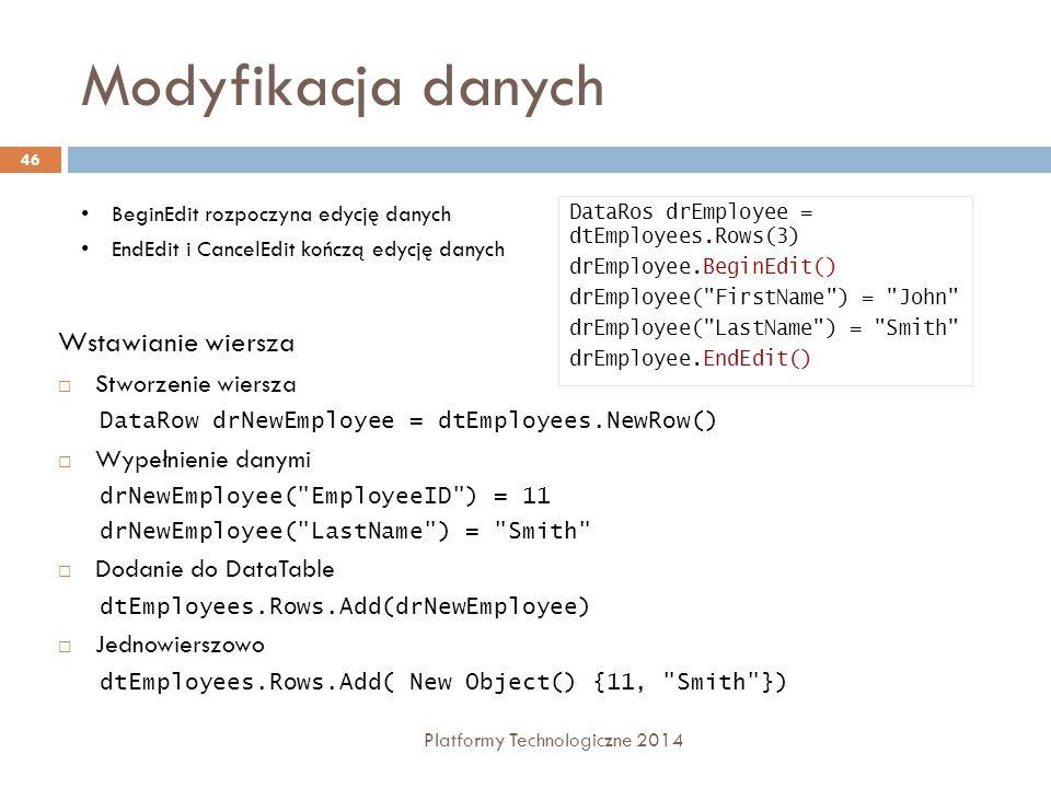 Modyfikacja danych Platformy Technologiczne 2014 46 BeginEdit rozpoczyna edycję danych EndEdit i CancelEdit kończą edycję danych DataRos drEmployee = dtEmployees.Rows(3) drEmployee.BeginEdit() drEmployee( FirstName ) = John drEmployee( LastName ) = Smith drEmployee.EndEdit() Wstawianie wiersza  Stworzenie wiersza DataRow drNewEmployee = dtEmployees.NewRow()  Wypełnienie danymi drNewEmployee( EmployeeID ) = 11 drNewEmployee( LastName ) = Smith  Dodanie do DataTable dtEmployees.Rows.Add(drNewEmployee)  Jednowierszowo dtEmployees.Rows.Add( New Object() {11, Smith })