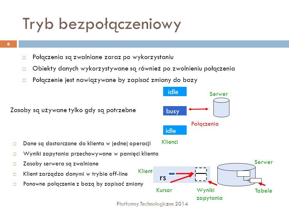 Tryb bezpołączeniowy Platformy Technologiczne 2014 6  Połączenia są zwalniane zaraz po wykorzystaniu  Obiekty danych wykorzystywane są również po zwolnieniu połączenia  Połączenie jest nawiązywane by zapisać zmiany do bazy  Dane są dostarczane do klienta w jednej operacji  Wyniki zapytania przechowywane w pamięci klienta  Zasoby serwera są zwalniane  Klient zarządza danymi w trybie off-line  Ponowne połączenie z bazą by zapisać zmiany Wyniki zapytania Kursor Klient rs Serwer Tabele idle Zasoby są używane tylko gdy są potrzebne Klienci Połączenia Serwer busy idle