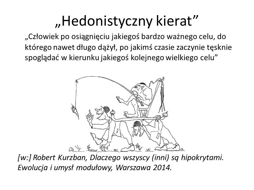 """""""Hedonistyczny kierat """"Człowiek po osiągnięciu jakiegoś bardzo ważnego celu, do którego nawet długo dążył, po jakimś czasie zaczynie tęsknie spoglądać w kierunku jakiegoś kolejnego wielkiego celu [w:] Robert Kurzban, Dlaczego wszyscy (inni) są hipokrytami."""