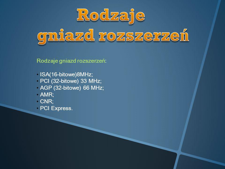 Rodzaje gniazd rozszerzeń: ISA(16-bitowe)8MHz; PCI (32-bitowe) 33 MHz; AGP (32-bitowe) 66 MHz; AMR; CNR; PCI Express.