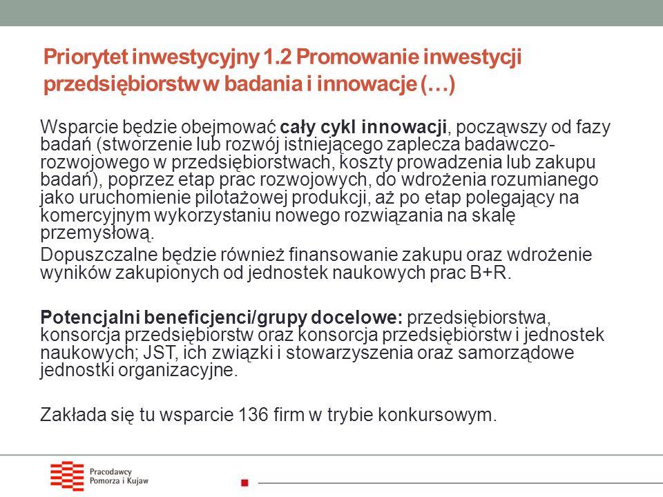 Priorytet inwestycyjny 1.2 Promowanie inwestycji przedsiębiorstw w badania i innowacje (…) Wsparcie będzie obejmować cały cykl innowacji, począwszy od