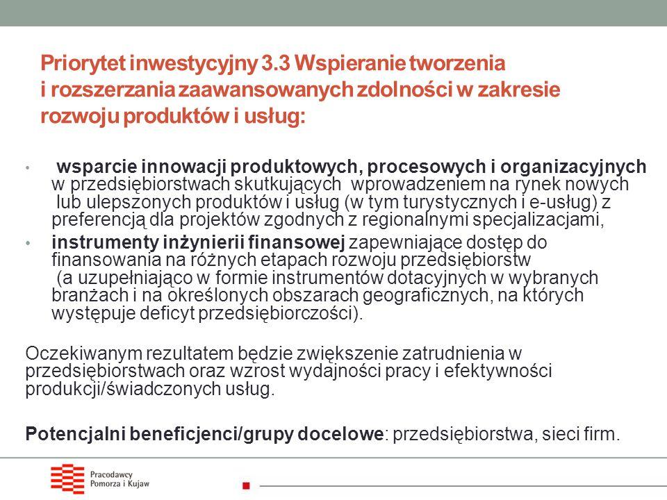 Priorytet inwestycyjny 3.3 Wspieranie tworzenia i rozszerzania zaawansowanych zdolności w zakresie rozwoju produktów i usług: wsparcie innowacji produ