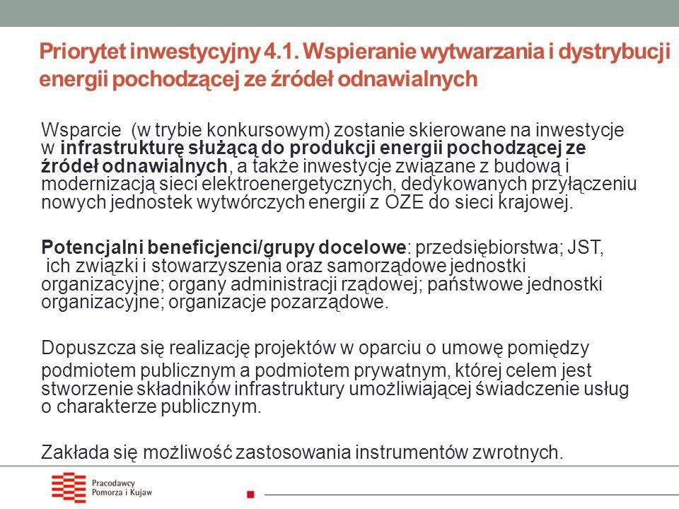Priorytet inwestycyjny 4.1. Wspieranie wytwarzania i dystrybucji energii pochodzącej ze źródeł odnawialnych Wsparcie (w trybie konkursowym) zostanie s