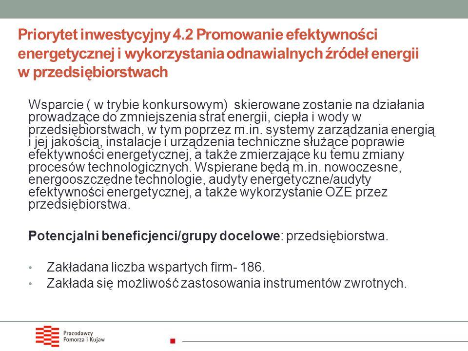 Priorytet inwestycyjny 4.2 Promowanie efektywności energetycznej i wykorzystania odnawialnych źródeł energii w przedsiębiorstwach Wsparcie ( w trybie