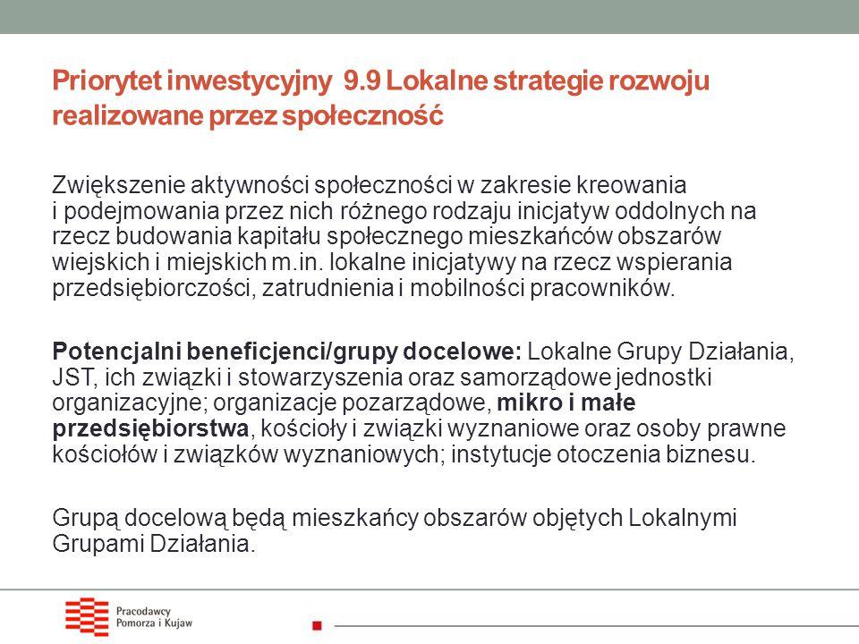 Priorytet inwestycyjny 9.9 Lokalne strategie rozwoju realizowane przez społeczność Zwiększenie aktywności społeczności w zakresie kreowania i podejmow