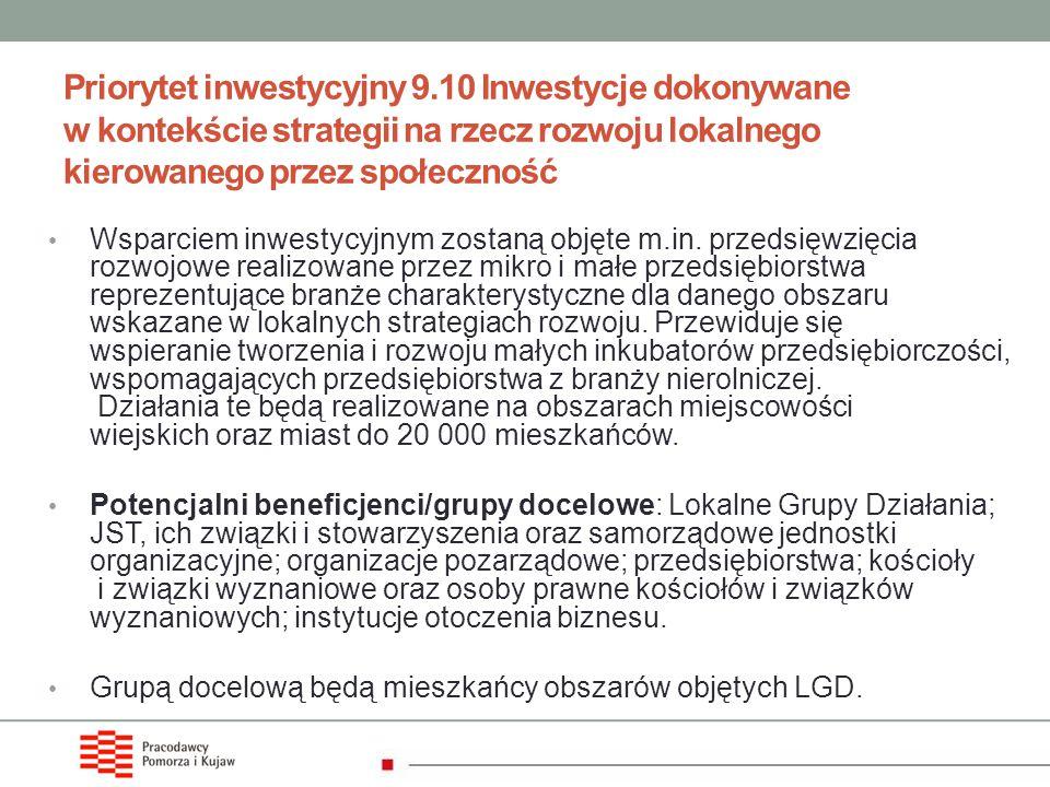 Priorytet inwestycyjny 9.10 Inwestycje dokonywane w kontekście strategii na rzecz rozwoju lokalnego kierowanego przez społeczność Wsparciem inwestycyj