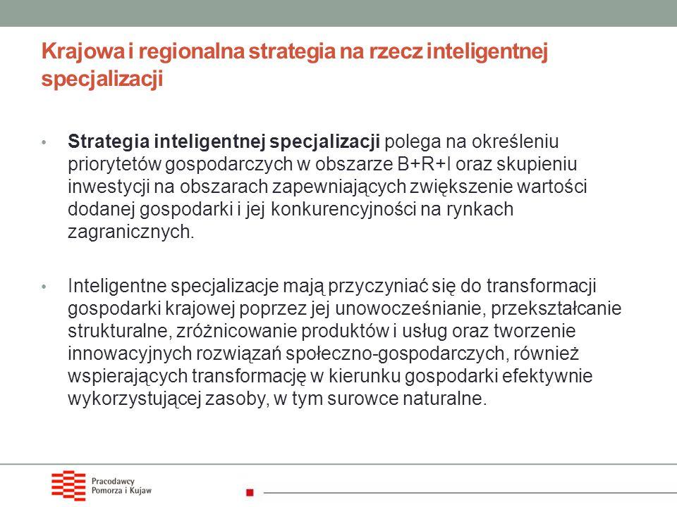Krajowa i regionalna strategia na rzecz inteligentnej specjalizacji Strategia inteligentnej specjalizacji polega na określeniu priorytetów gospodarczy