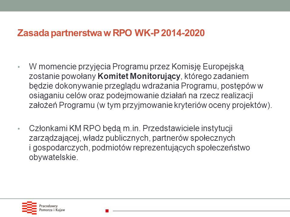 Zasada partnerstwa w RPO WK-P 2014-2020 W momencie przyjęcia Programu przez Komisję Europejską zostanie powołany Komitet Monitorujący, którego zadanie