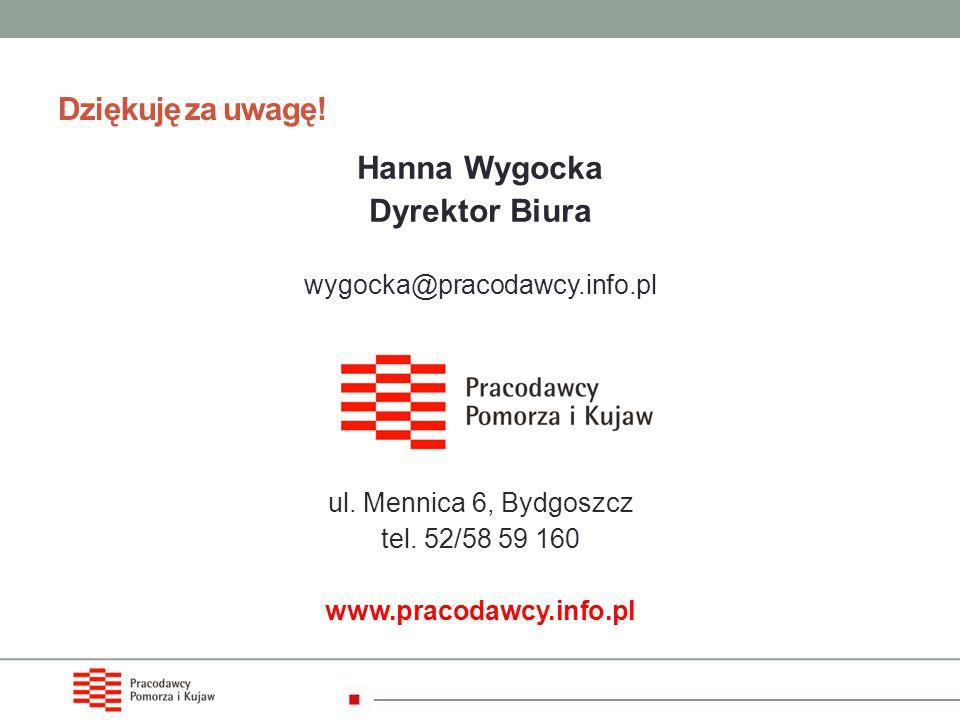 Dziękuję za uwagę! Hanna Wygocka Dyrektor Biura wygocka@pracodawcy.info.pl ul. Mennica 6, Bydgoszcz tel. 52/58 59 160 www.pracodawcy.info.pl