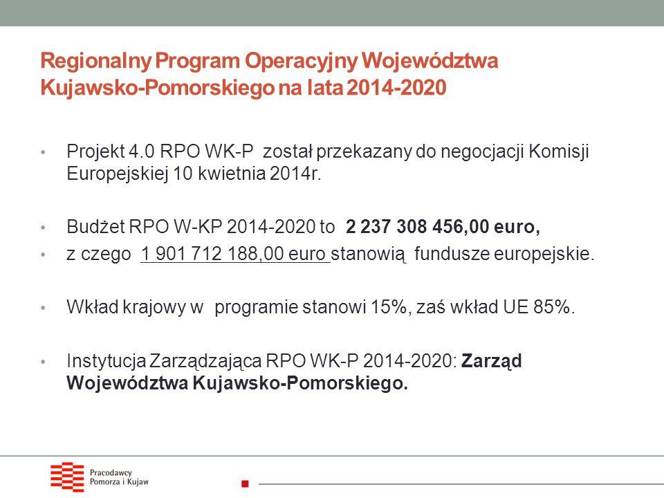 Regionalny Program Operacyjny Województwa Kujawsko-Pomorskiego na lata 2014-2020 Projekt 4.0 RPO WK-P został przekazany do negocjacji Komisji Europejs
